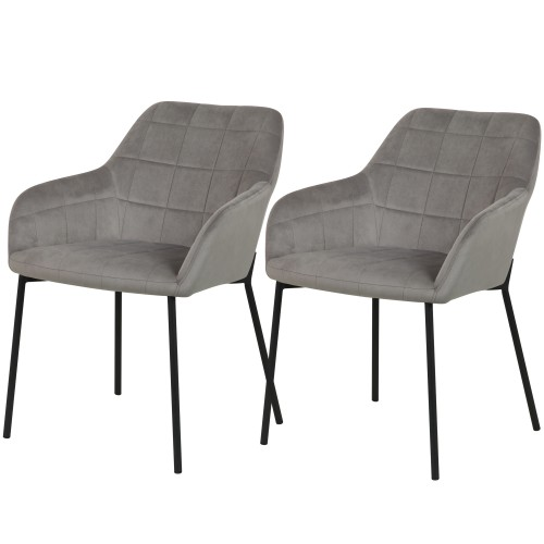 Chaise Romy en velours gris (lot de 2)