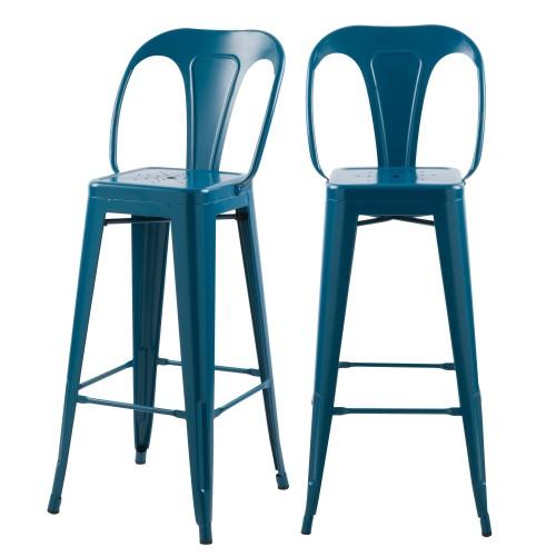 acheter chaise indus bleu en metal