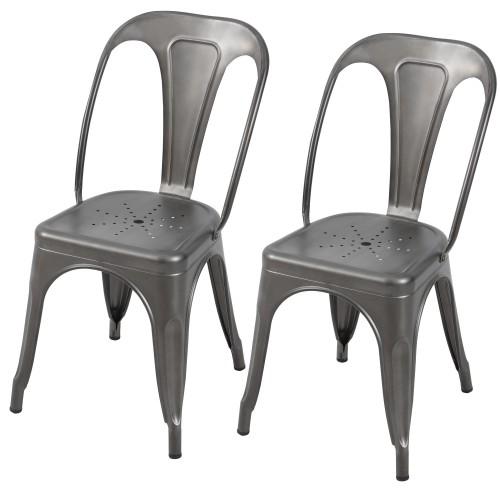 achat chaise indus gris acier