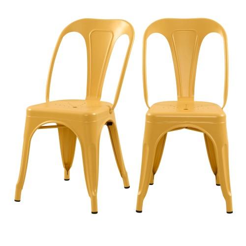 acheter chaise indus jaune en metal lot de 2