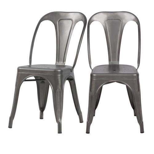 Chaise Indus gris acier (lot de 2)
