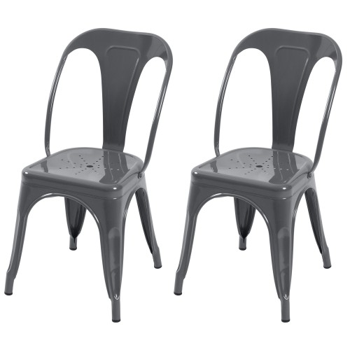 Chaise Indus gris brillant (lot de 2)