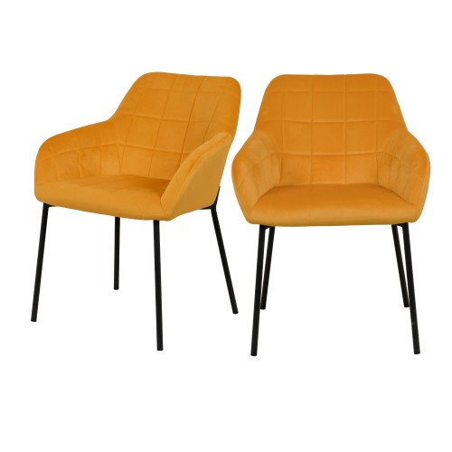 Chaise Romy en velours jaune (lot de 2)
