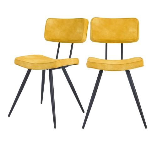 acheter chaise jaune vintage cuir synthetique lot de 2-