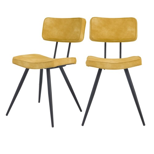 acheter chaise jaune vintage simili lot de 2