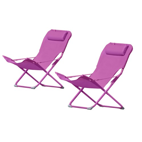 Chaise longue Talanga rose (lot de 2)