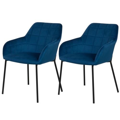 acheter chaise lot de 2 bleu fonce velours