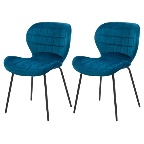 Chaise Mazzia en velours bleu (lot de 2)