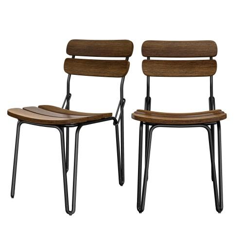 acheter chaise lot de 2 bois industriel