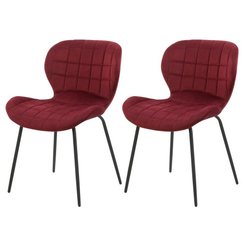 acheter chaise lot de 2 bordeaux en velours