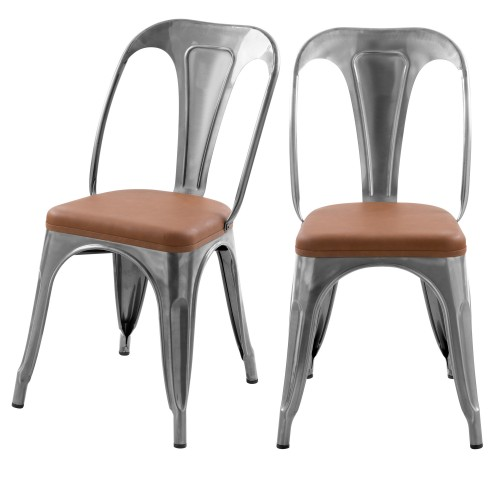 Chaise indus Charly chrome et marron (lot de 2)