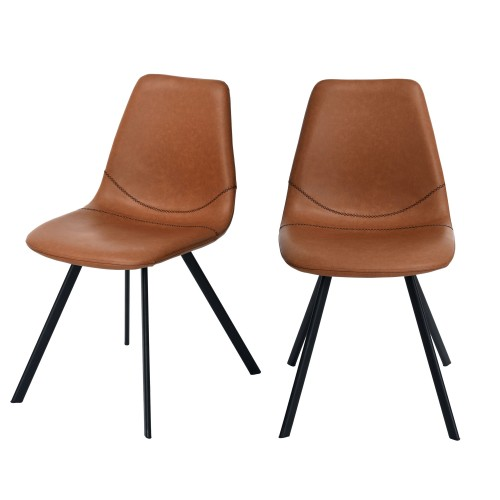 acheter chaise marron clair cuir synthétique