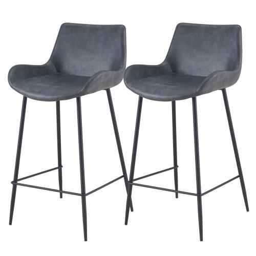 Chaise de bar mi-hauteur Pirata noire 65 cm (lot de 2)