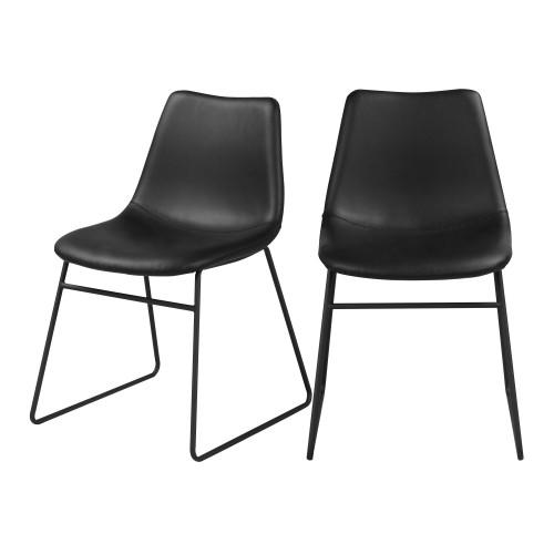 acheter chaise noire cuir synthetique lot de 2