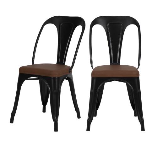 acheter chaise noire et marron industrielle lot de deux