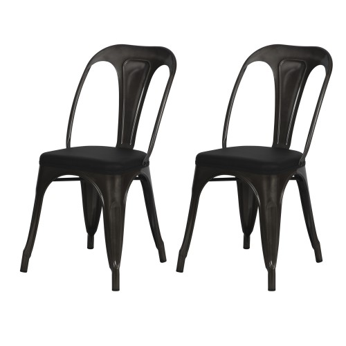 Chaise indus Charly grise (lot de 2)