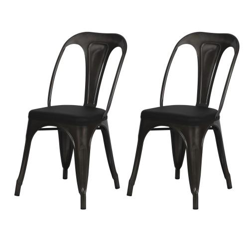 acheter chaise noire industrielle lot de 2