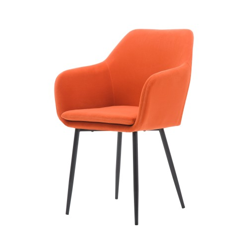 acheter chaise orange corail velours