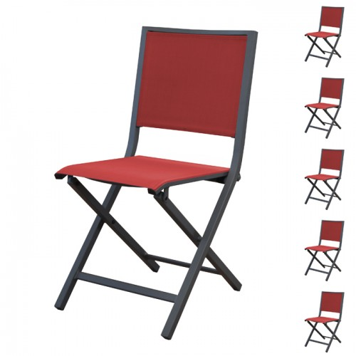 Chaise pliante Ida rouge (lot de 6)
