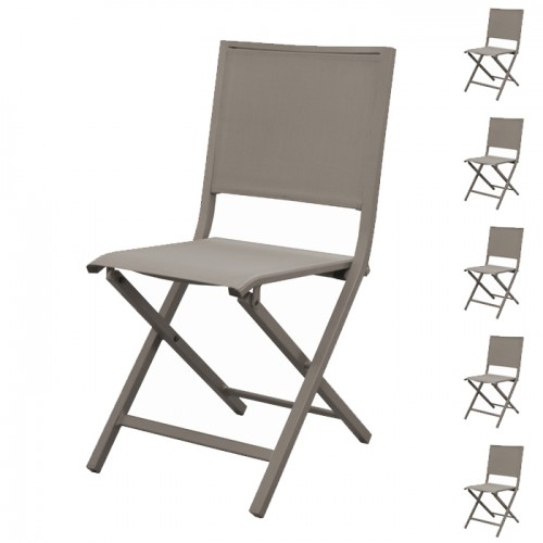 acheter chaise pliante taupe de jardin