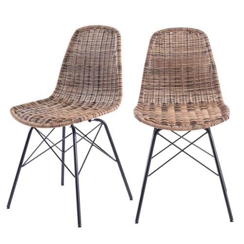 acheter chaise resine tressee naturelle design lot de 2