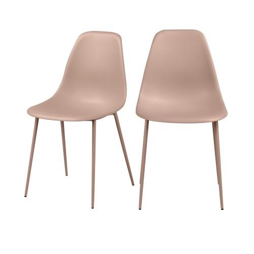 acheter chaise rose design pieds metal lot de 2