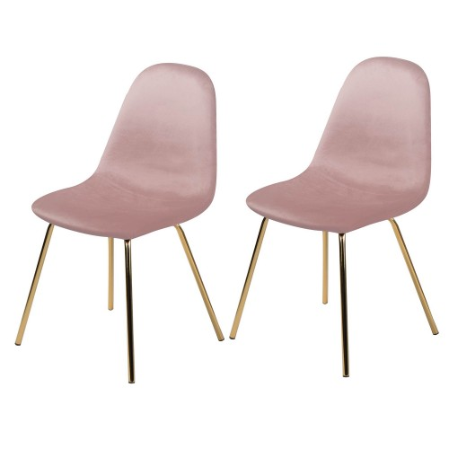 Chaise Skuli en velours rose (lot de 2)