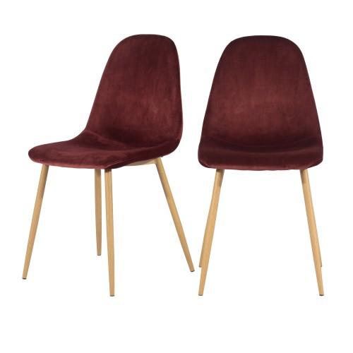 acheter chaise scandi velours bordeaux bois design lot de deux
