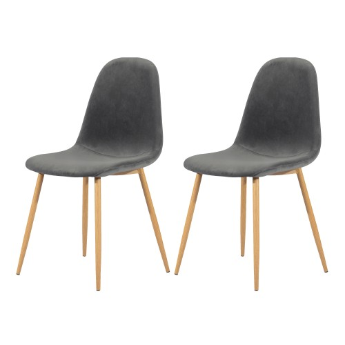 Chaise Fredrik en velours gris (lot de 2)