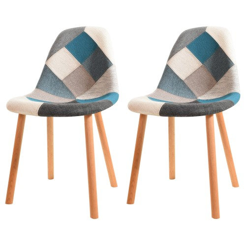 Chaise Arctik Patchwork bleue (lot de 2)