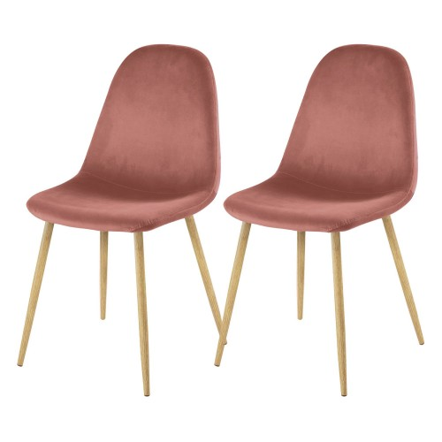 Chaise Fredrik en velours rose (lot de 2)