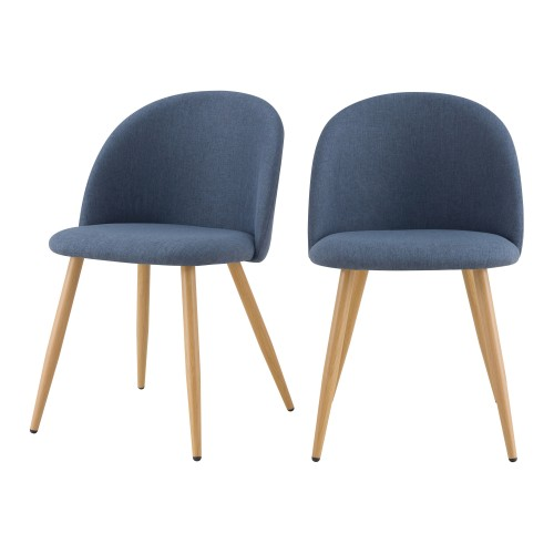 acheter chaise velours bleu gris scandinave lot de 2