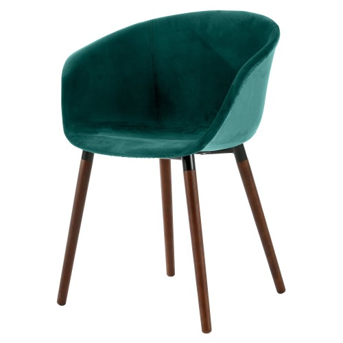 Chaise Dolly en velours vert canard