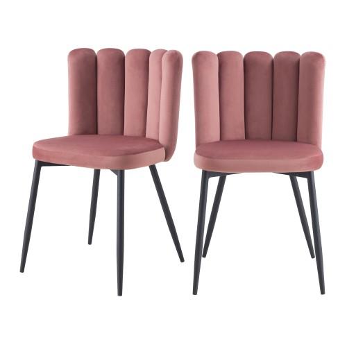acheter chaise velours rose style art deco
