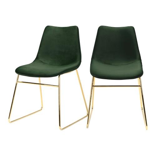acheter chaise vert velours lot de 2