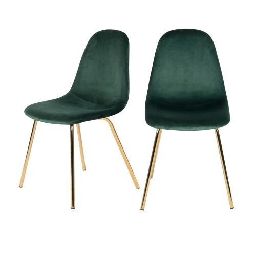acheter chaise verte pieds dore lot de 2