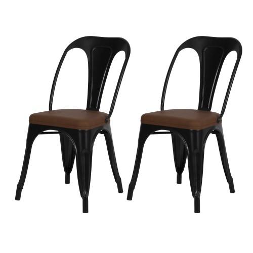 acheter chaise noir et marron industrielle lot de 2