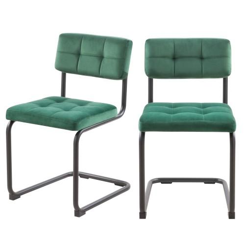 Chaise Fallon en velours vert (lot de 2)