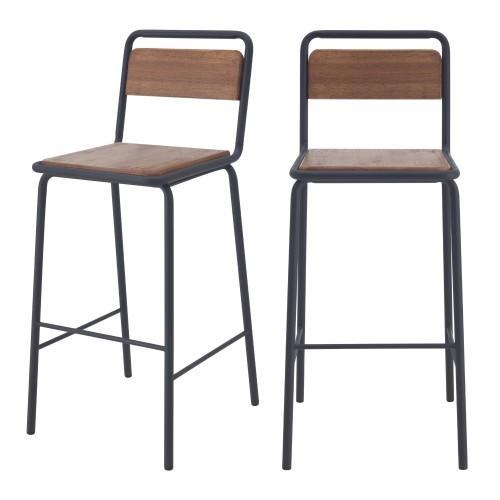 Chaises de bar Charlemagne en bois vieilli 72 cm (lot de 2)