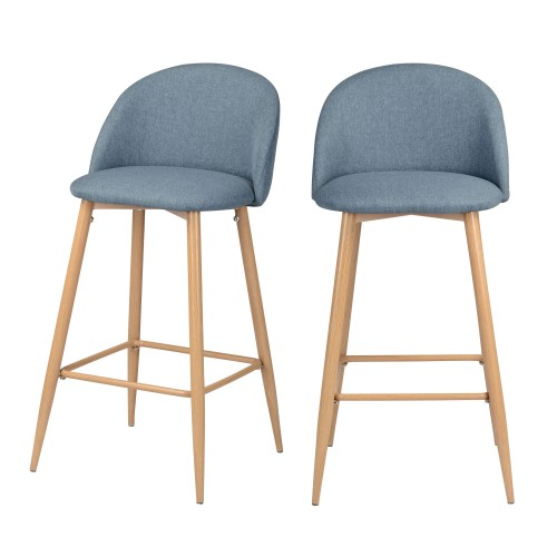 Chaise de bar Cozy bleu/gris 72.5 cm (lot de 2)