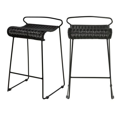Chaise de bar Magadi en résine tressée noire 72,5 cm (lot de 2)