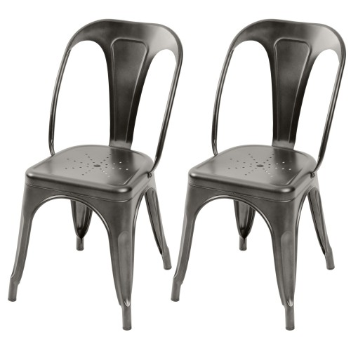 Chaise Indus gris anthracite (lot de 2)