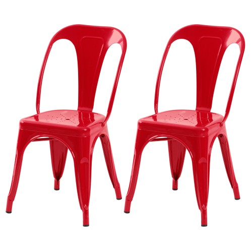 Chaise Indus rouge (lot de 2)