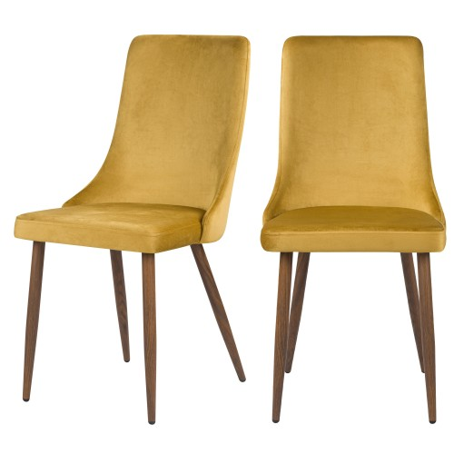 Chaise Vinni en velours jaune moutarde (lot de 2)