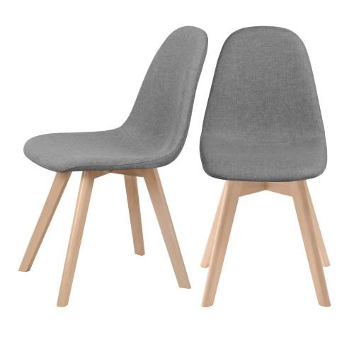 acheter chaises lot de 2 grises tissu skandi