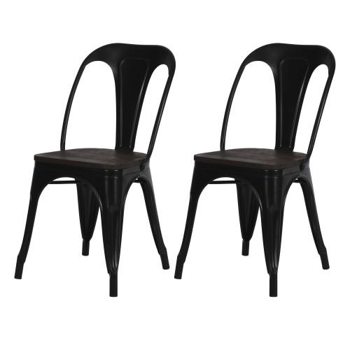 acheter chaises lot de 2 industrielles noires