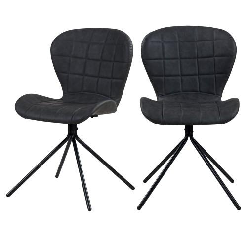 acheter chaises lot de 2 vintage grises