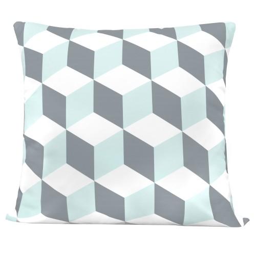 Coussin Symétrique gris et bleu