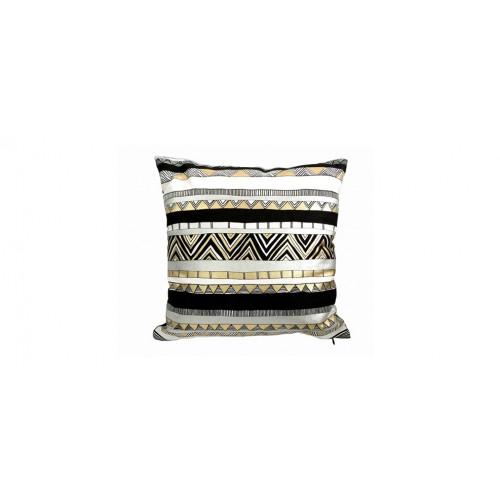 acheter coussin decoratif motif noir or