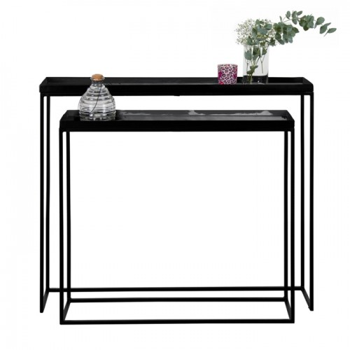 Console Dashti noire brillante (lot de 2)